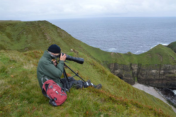 photographing on cliffs, north coast Scotland