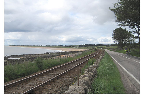Sea, rail and road between Helmsdale and Tain in Scotland