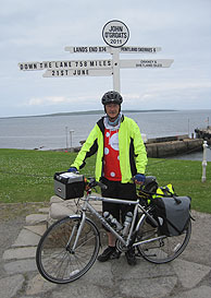 Starting a JOGLE - the sign at John O'Groats