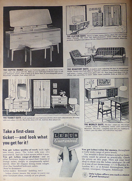 Lebus Furniture advert 1960's