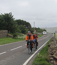 Passing JOGLE cyclists near Wick